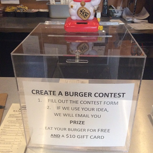 Create a Bang Bang Burger Contest... You be the CHEF.  If we use your idea, enjoy your burger on us and use a prize of a $10 gift card to share your creation with a friend... Fill out an entry form today.