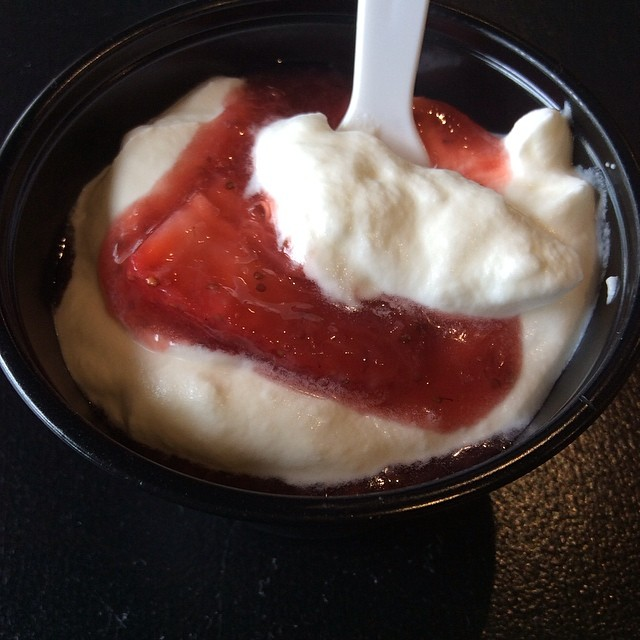 Kids Eat Free today AND they can enjoy a small cup of Strawberries and Homemade Whipped Cream on us!