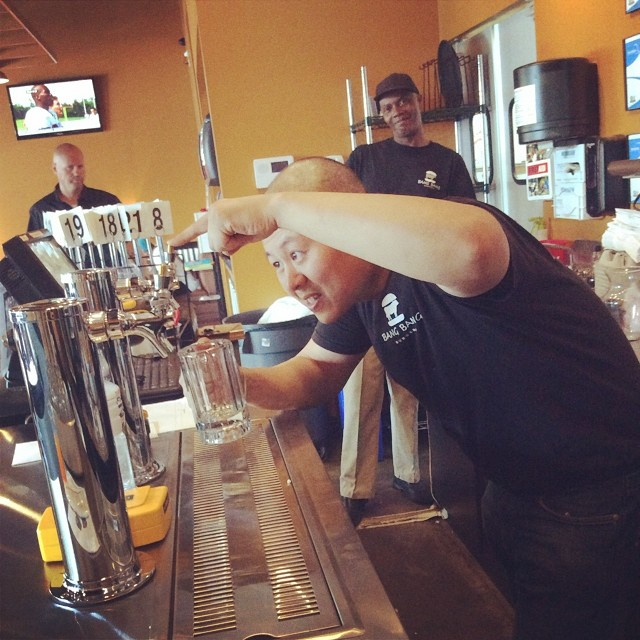 Joe needs some help figuring out how to pour beer from our new taps! Draft Beers are the new thing at Bang Bang!