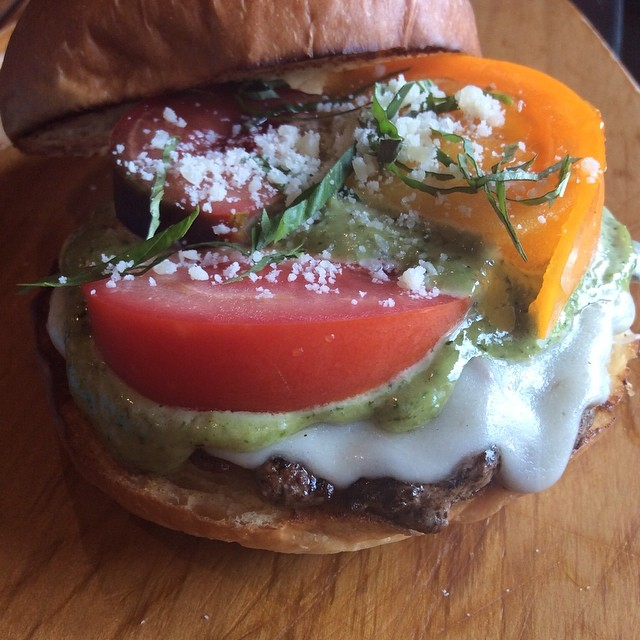 Burger of the Week... The Caprese Burger, Provolone Cheese, Medley of Vine Ripe Tomatoes, Homemade Pesto Mayo, Parmesan and Basil, over a LaFriefa Patty @burgerporn @burgeroftheweek @bangbangburgers
