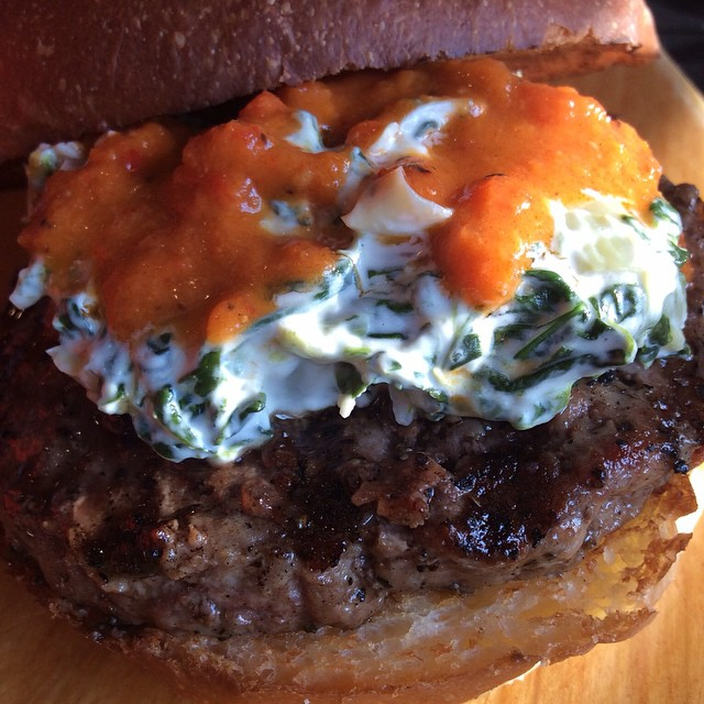 The Burger if the Week... The Heartbreaker... Homemade Spinach Artichoke Dip with a Roasted Pepper Garlic Tomato Sauce... Yum...