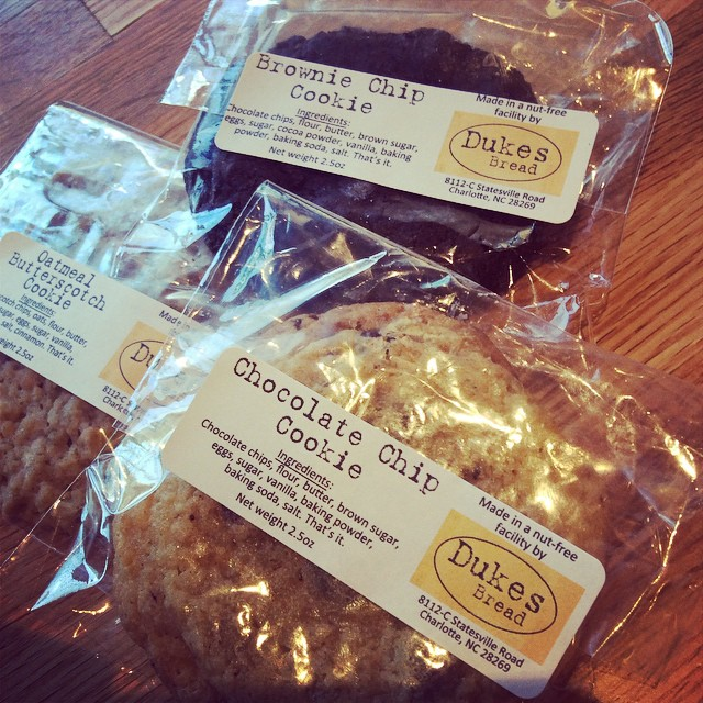 Thank heavens for Dukes Bread cookies!  There's nothing better after a delicious burger then a mouth watering dessert! Best of all, there are 3 flavors to choose from: Chocolate Chip, Brownie Chip, and Oatmeal Butterscotch! @dukesbread #dukescookies #scrumptious #canteatjustone