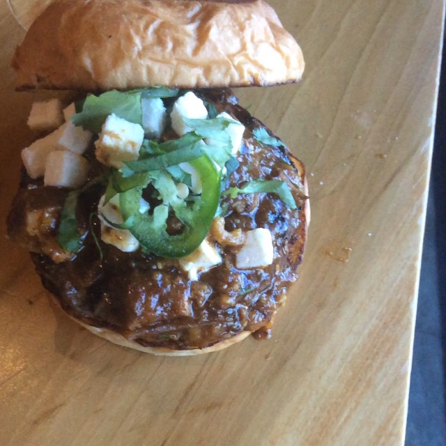 This week's special: The Pork Chili Burger! Tomatillo and Pork Chili, Jalapeño, Queso Fresco, and Cilantro all on top of a La Frieda Patty. Yummm!