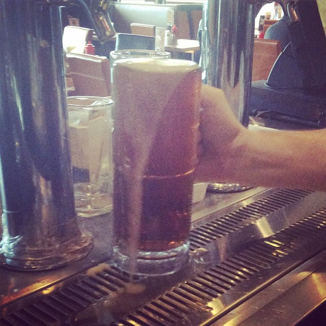 Our first cold brew of the day, and not the last to be sure! Many people are taking advantage of our half off local beer special today. Saving money has never been so delicious!!! #localbeers #local #beerandburgers #beer #brew #OMB #Noda #IPA #amberale #cold #deals #delicious #charlotte