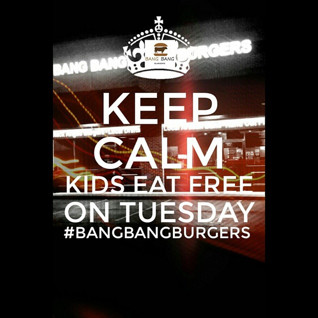 Hows it going Bang nation...time to recurit some new bangers...Its KIDS EAT FREE TUESDAY!(Big Movie Voice!) Bring out the whole family and enjoy our delicious burgers, handcut fries and artisan bread. See ya tonight! #bangbangburgers #charlotte #clt #charlotteresturant #food #burgers #burgerporn #fresh #handcutfries #kidseatfree #tuesday #artisanbread @dukesbread #tuesday