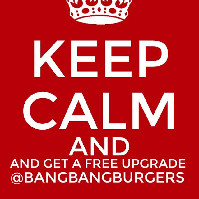 Its Free Upgrade Monday at BangBang Burgers...Upgrade your side for free..Sweet Potato Fries...Onion Rings or Arugula Salad..try it on us..This Monday and every monday! #bangbangburgers # freeupgrademonday #upgrade #sides #sweetpotatoefries #onionrings #arugalasalad