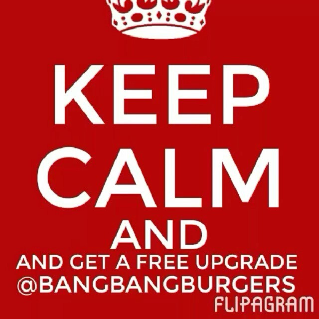 Its Free Upgrade Monday at BangBangBurger...have an upgraded side on us with the purchase of your burger. Seeyou later! #bangbangburgers #upgrade #sweetpotatoefries #onionrings #arugalasalad #mooandbrew