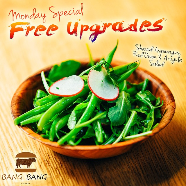 IT'S MONDAY, MONDAY AND TIME TO GET BACK TO THE GRIND, BUT DONT WORRY BANG BANG BURGERS IS OFFERING UPGRADES TO YOUR MEAL COME IN FOR A BANGIN' BURGER AND GET A FREE UPGRADED SIDE!  BBQ CHIPS, ONION RINGS, SWEET POTATO FRIES, SALADS, AND MORE!!! #BANGBANGBURGERS #UPGRADE #MONDAY #SPECIAL #BURGER