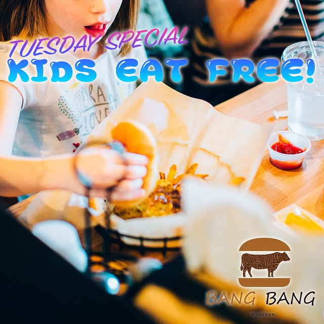 WHEN YOU WERE YOUNG WHAT WAS YOUR FAVORITE MEAL? I BET IT WAS A BURGER!!!! BRING YOUR KIDS TO FAVORITE BURGER PLACE AT BANG BANG BURGERS! BECAUSE TUESDAYS, WE CELEBRATE THE KIDS! ‪#kids #eat #free #BANGBANGBURGERS #Tuesday #SPECIAL #Family #Together #BURGER #Joy #Favorite #Charlotte #bestburger