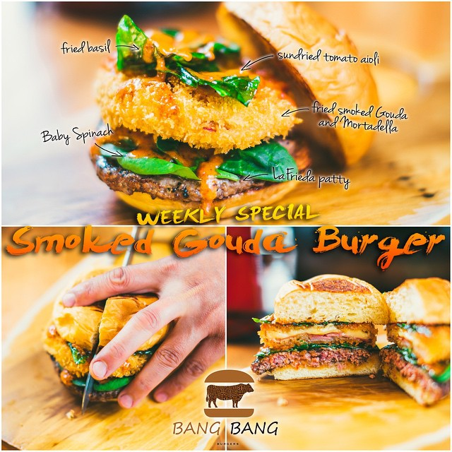 IN THIS WEEK WE ENCOURAGE YOU TO TRY OUR SPECIAL BURGER OF THE WEEK  CALL THE SMOKED GOUDA BURGER!! MADE WITH  1.FRIED SMOKED GOUDA AND MORTADELLA 2.FRIED BASIL 3.SUNDRIED TOMATO AIOLI 4.BABY SPINACH 5.LAFRIEDA PATTY  COME VISIT US AND TRY THE SMOKED GOUDA BURGER OF THE WEEK AND LET US KNOW HOW IT IS! #CHARLOTTE #BEST #BURGER #BANGBANGBURGERS #WEEKLY #SPECIAL #NEW #TRYIT #LOVIT #GOOD #GREAT #FUN #JOY #FRIDAY