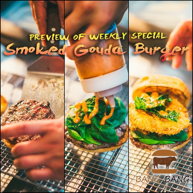 Check out this Preview of Weekly Burger Special~~ Smoked Gouda Burger!! #Charlotte #Best #Burger #bangbangburgers #Preview #weekly #special #tomorrow #good #great #new #coming