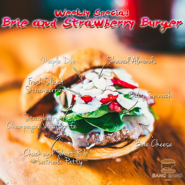 Try our Burger of the Week!  The Brie and Strawberry Burger... With  Brie Cheese, Baby Spinach, Fresh Sliced Strawberries, Strawberry Champagne Vinaigrette, Shaved Almonds and Maple Dip Over a Chuck and Short Rib #LaFrieda Patty #DukesBread #Bangbangburgers #Burgerporn #Charlotte #Burgeroftheweek