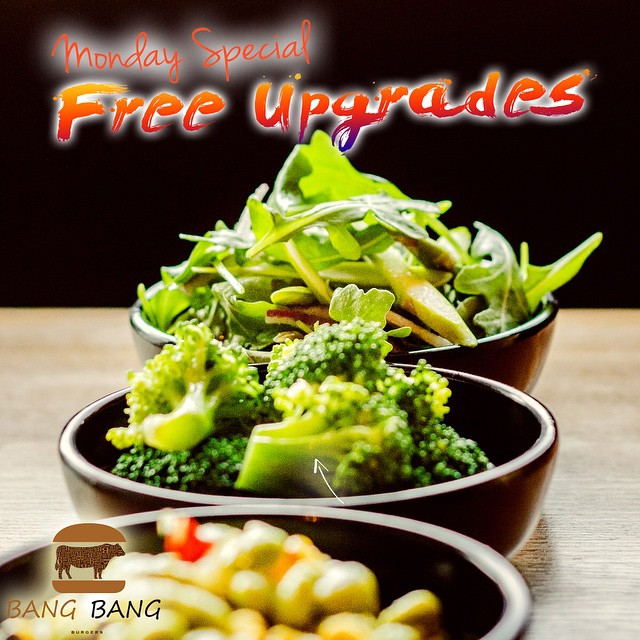 How was your weekend? Hate Mondays? We can make it better! Every Monday Bang Bnag Burgers give you free upgrades on your side menu! Do not miss this chance to have our awesome sides. #Charlotte #Best #Burger #Restaurant  #BangBangBurgers #Family #Friends #Fun #Joy #Love #monday #special #freeupgrade #sides
