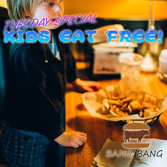 TUESDAY SPECIAL AT BANG BANG BURGERS!! YOUR KID CAN HAVE A FREE MEAL TODAY!! VISIT OUR RESTAURANT WITH YOUR CHILD AND LEAVE WITH ONE HAPPY CHILD!! #Kids #Eat #Free #Tuesday #Special #Charlotte #Best #Burger #Restaurant #BangBangBurgers #Family #Friends #Fun #Joy #Love