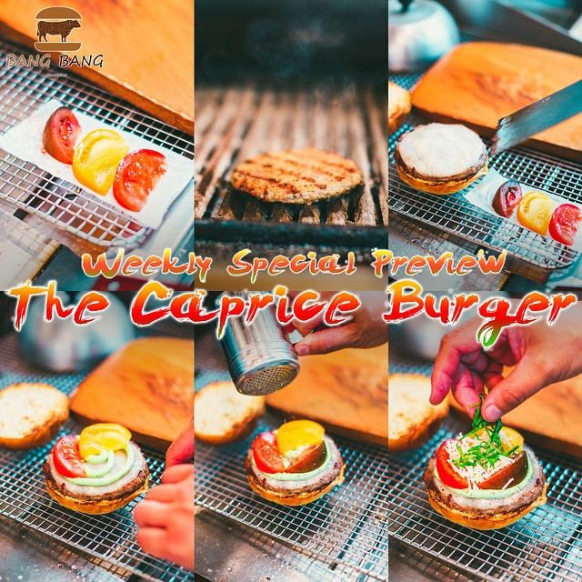 Weekly Special Burger Preview!  The Caprice Burger! ‪#Charlotte‬ ‪#Best‬ ‪#Burger‬ ‪#Restaurant‬ ‪#BangBangBurgers‬ ‪#Weekly‬ ‪#Special‬ ‪#Preview‬