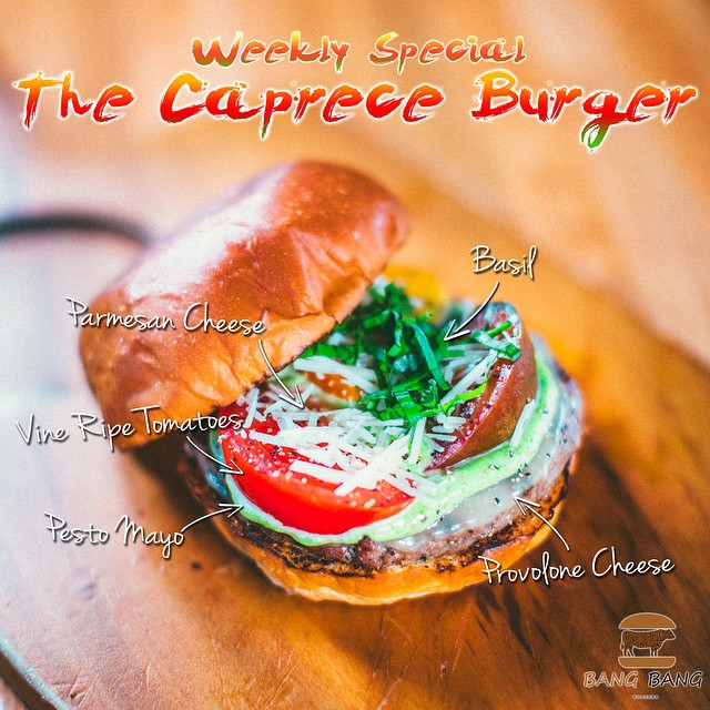 The Burger of the Week... The Caprece Burger... With Provolone Cheese, Pesto Mayo, Vine Ripe Tomatoes, Parmesan Cheese, Basil on Top of a #LaFrieda Patty and #Dukesbread Brioche Bun Come Visit Us and TRY The Caprece Burger of the Week and LET US KNOW HOW IT IS! #Charlotte #Best #Burger #Restaurant #BangBangBurgers #Family #Friends #Fun #Joy #Love #Weekly #Special