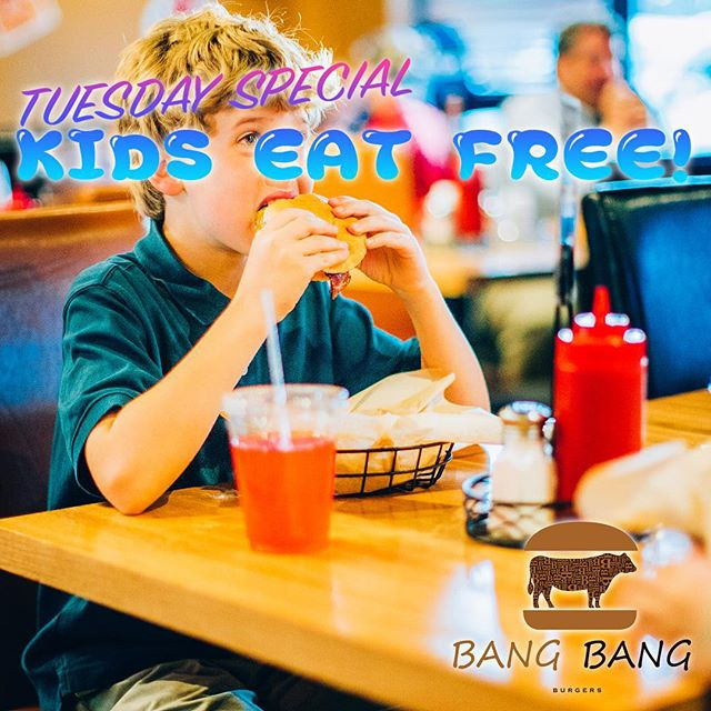 EVERY TUESDAY AT BANG BANG BURGERS KIDS EAT FREE!! COME ON IN WITH YOUR FAMILY AND HAVE YOUR KIDS EAT FREE TODAY!  #CHARLOTTE #BEST #BURGER #RESTAURANT #BANGBANGBURGERS #TUESDAY #SPECIAL #KIDS #EAT #FREE #FAMILY #FAVORITE #MEAL #SWEET #GREAT