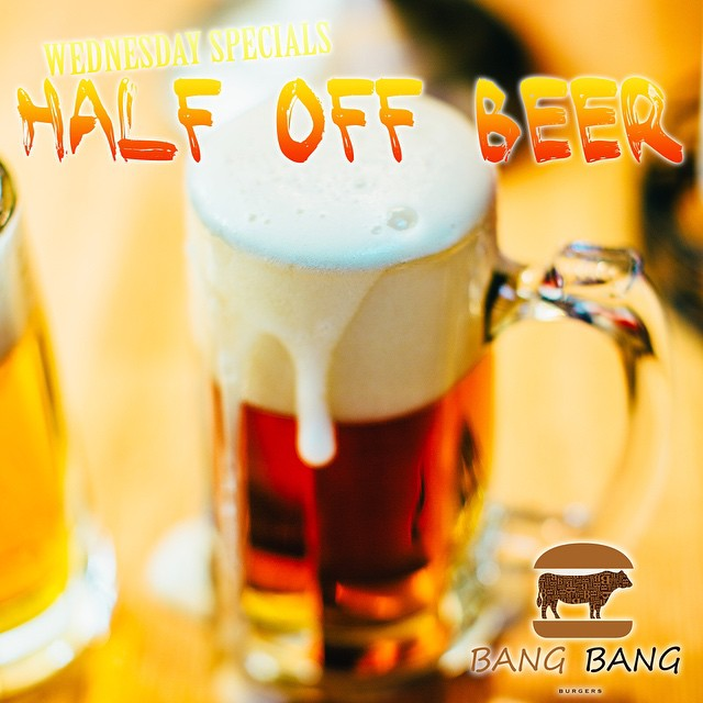 HALF OFF ICE COLD CRAFT BEER AT BANG BANG BURGERS TODAY! COME ON DOWN WITH YOUR FRIENDS TO YOUR FAVORITE BURGER SPOT AND ENJOY HALF OFF OF ALL BEERS!!! #CHARLOTTE #BEST #BURGER #REATUARANT #BANGBANGBURGERS #BEER #ICE #COLD #HALF #OFF #SALE #FRIENDS #VISIT #FUN #JOY #CHEERS