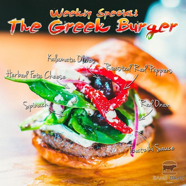 This Weeks Burger Special... The Greek Burger with Herbed Feta Cheese, Kalamata Olives, Red Onion, Spinach, Roasted Red Peppers and Tzatziki Sauce Over a LaFrieda PattyCome Visit Us and TRY The Greek Burger of the Week and LET US KNOW HOW IT IS! #Charlotte #Best #Burger #Restaurant #BangBangBurgers #Family #Friends #Fun #Joy #Love #Weekly #Special