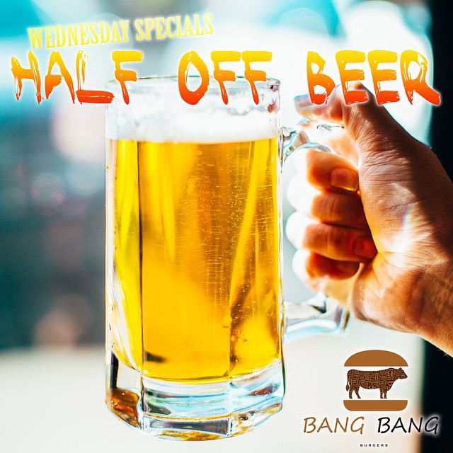 Wednesdays are when we need time to unwind and relax to get us through the rest of the week. #BangBnagBurger give you #Half Off Beer every Wednesday!! Come visit and have a HALF OFF BEER on us today!! #Charlotte #Best #Burger #Restaurant #Friends #Family #Fun #Joy #Love #Local #HalfOff #Beer #Unwind #Relax #Energy