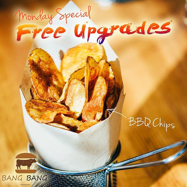 IT'S MONDAY, MONDAY AND TIME TO GET BACK TO THE GRIND, BUT DONT WORRY BANG BANG BURGERS IS OFFERING UPGRADES TO YOUR MEAL COME IN FOR A BANGIN' BURGER AND GET A FREE UPGRADED SIDE!  BBQ CHIPS, ONION RINGS, SWEET POTATO FRIES, SALADS, AND MORE!!! ‪#‎CHARLOTTE‬ ‪#‎BEST‬ ‪#‎BURGER‬ ‪#‎RESTAURANT‬ ‪#‎BANGBANGBURGERS‬ ‪#‎MONDAY‬ ‪#‎SPECIAL‬ ‪#‎FREE‬ ‪#‎UPGRADES‬ ‪#‎SIDES‬ ‪#‎ENERGY‬ ‪#‎FAMILY‬ ‪#‎FRIENDS‬ ‪#‎GREAT‬ ‪#‎LOVE‬ ‪#‎JOY‬ ‪#‎FUN‬