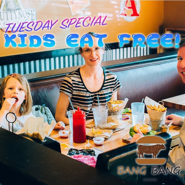 TUESDAY SPECIAL AT BANG BANG BURGERS!! YOUR KID CAN HAVE A FREE MEAL TODAY!! VISIT OUR RESTAURANT WITH YOUR CHILD AND LEAVE WITH ONE HAPPY CHILD!! #Charlotte #Best #Burger #Restaurant #Bangbangburgers #Tuesday #Special #Kids #EatFree #Child #HappyTime #Fun #Family #Joy #Love
